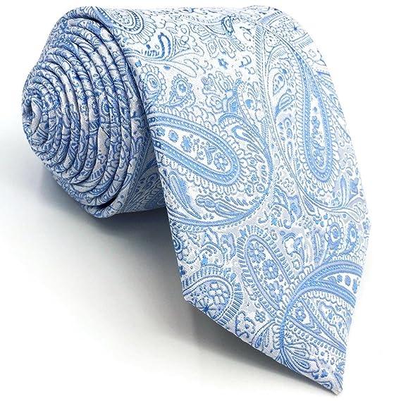 SHLAX WING Nuevo Corbatas Para Hombre Cachemir Tie Plateado Azul for Traje  de negocios Suit 57.5 quot  3abce63c1f9