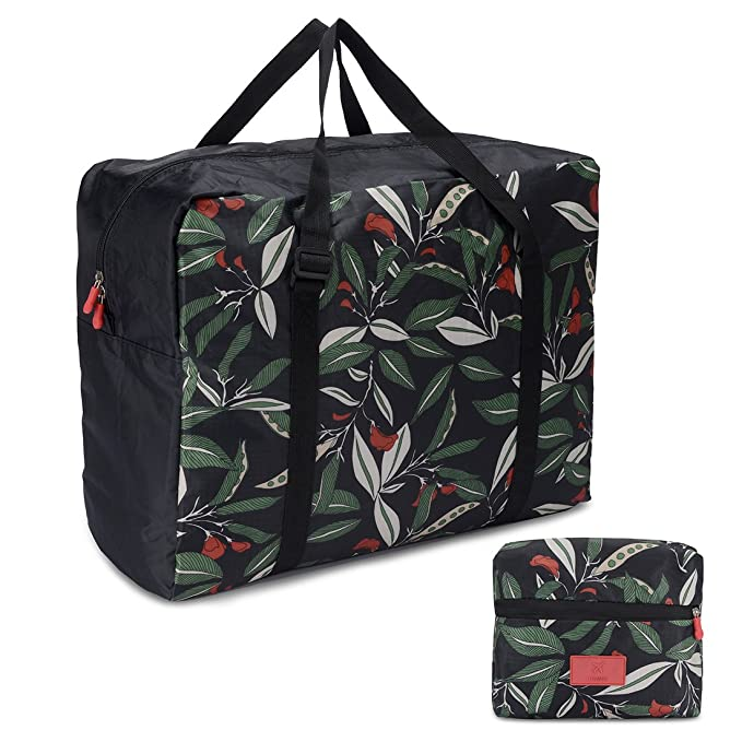 6c12c6728b4d Foldable Travel Tote Bag Waterproof High Capacity Portable Storage Luggage  Bag (Green Leaves)