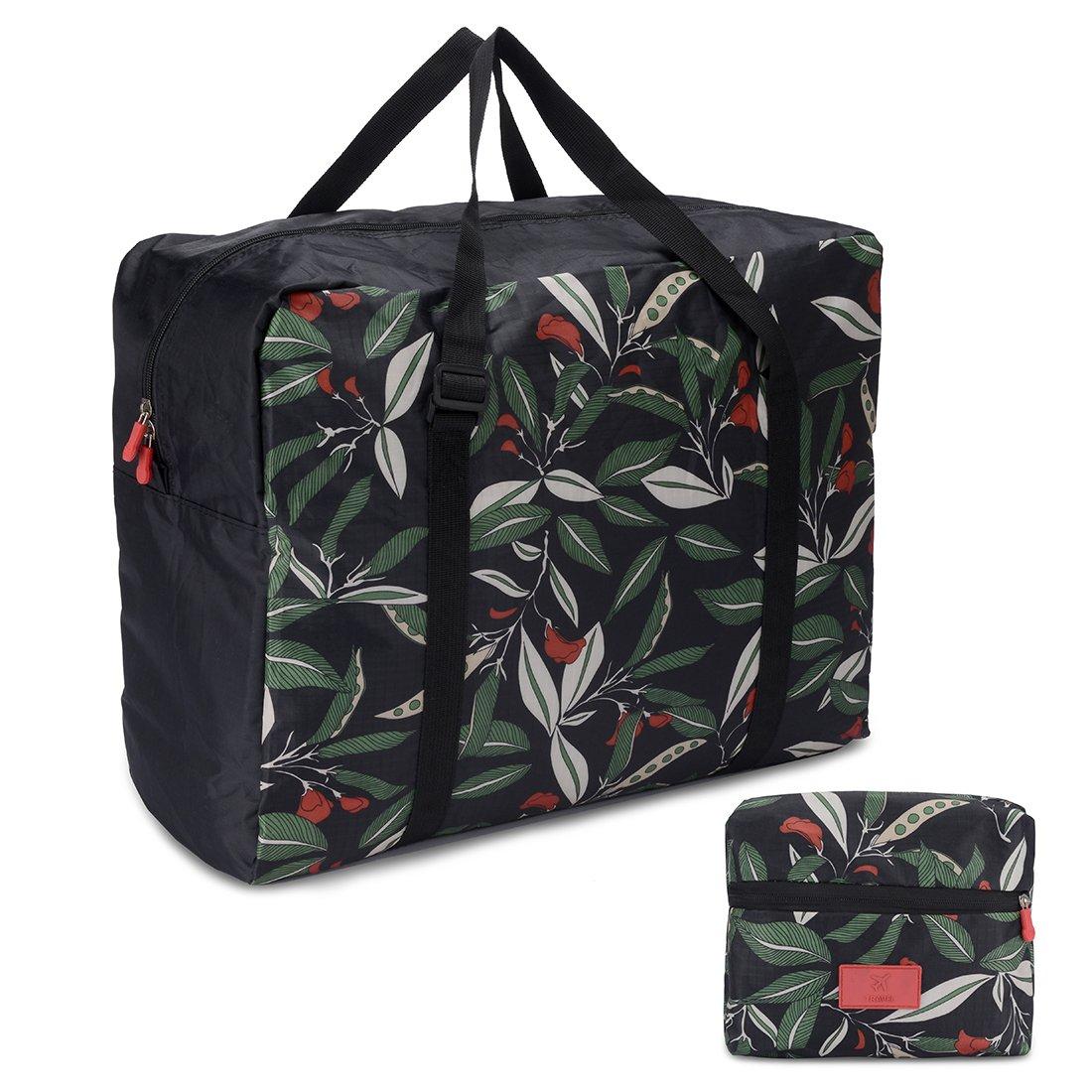 Foldable Travel Tote Bag Waterproof High Capacity Portable Storage Luggage Bag (Green Leaves)