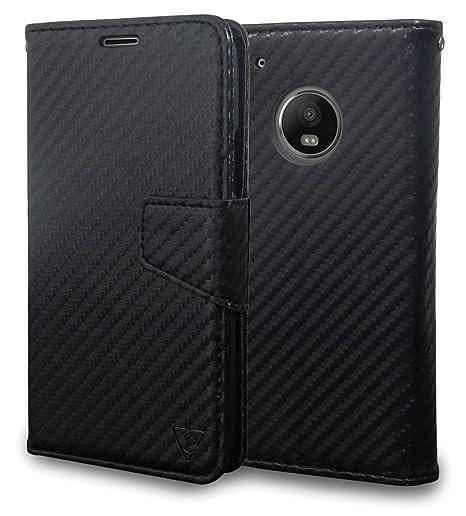 Ceego Luxuria Wallet Flip Cover for Moto G5 Plus (Carbon Fiber Black)