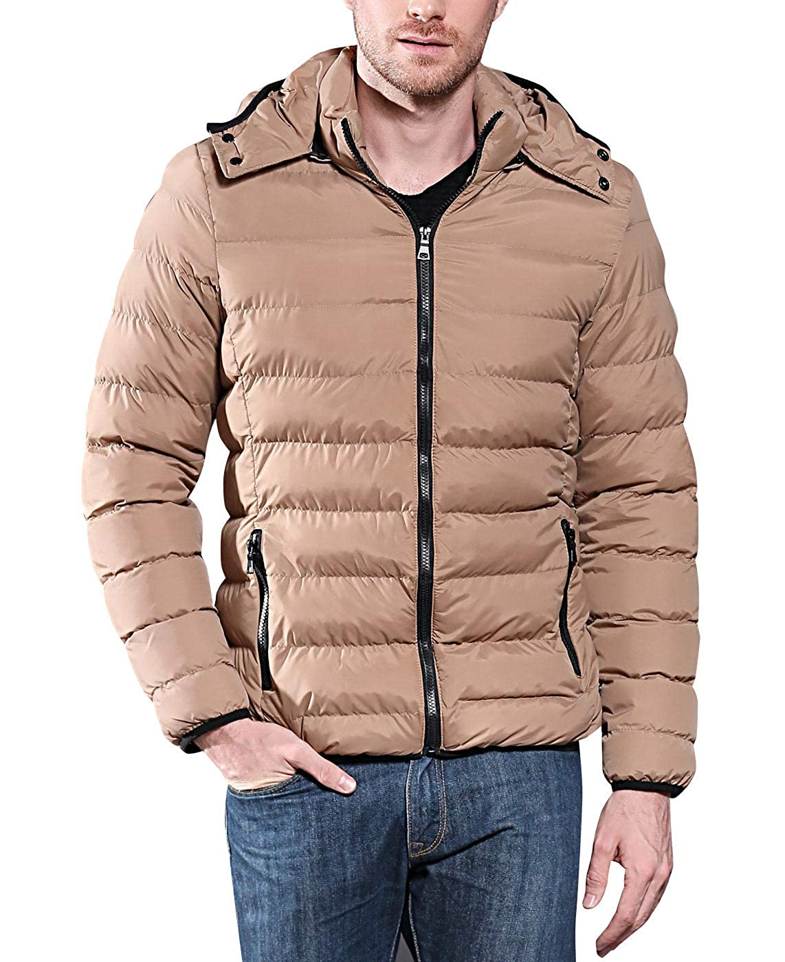 COUTUDI Mens Winter Lightweight Coat Warm Cotton Outwear