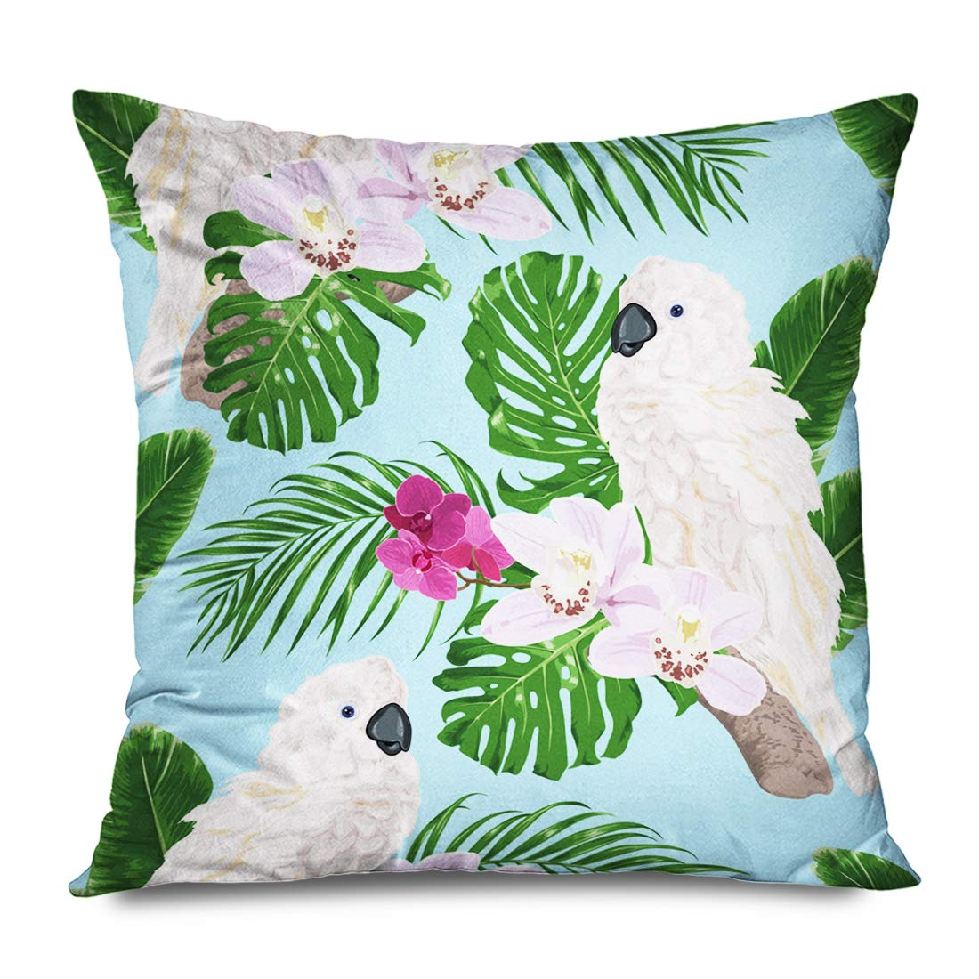 Ahawoso Throw Pillow Cover Square 18x18 Inch Pink Big Fine White Parrot Exotic Flowers Cockatoo Nature Amazona Amazonian Beautiful Beauty Bloom Decorative Pillowcase Home Decor Pillow Cushion Case