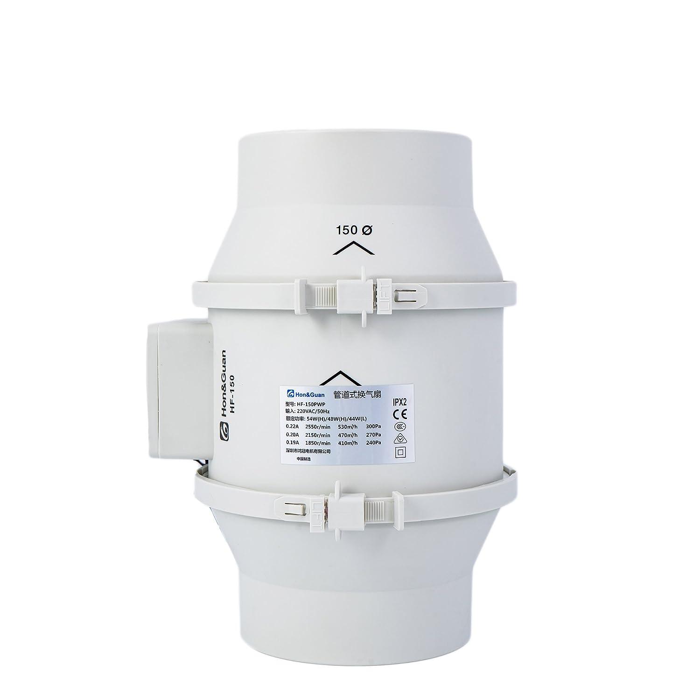 /Ø100mm Hon/&Guan Rohrventilator Abluftventilator Timer mit Intelligenter Schalter f/ür Zimmer Badezimmer K/üche