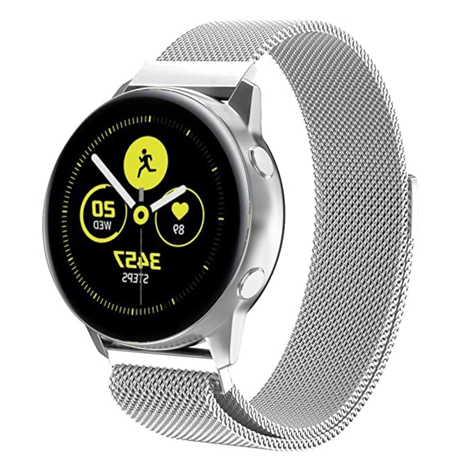SOCEN Compatible Samsung Galaxy Watch Active (40mm) Bands, Magnetic Milanese Loop Mesh Stainless Steel Band Replacement Wristbands Accessories for ...