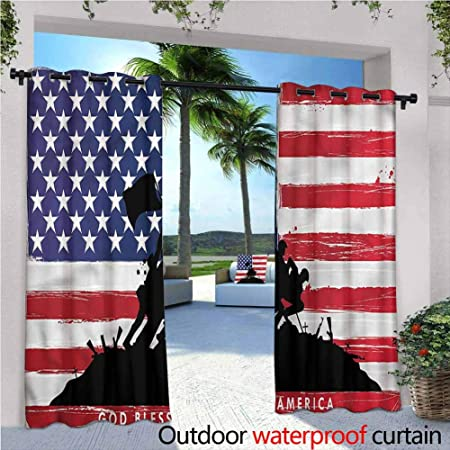 Amazon Com Jktown American Curtains For Living Room God Bless Usa Flag For Patio Front Porch 120x96 Inch Garden Outdoor