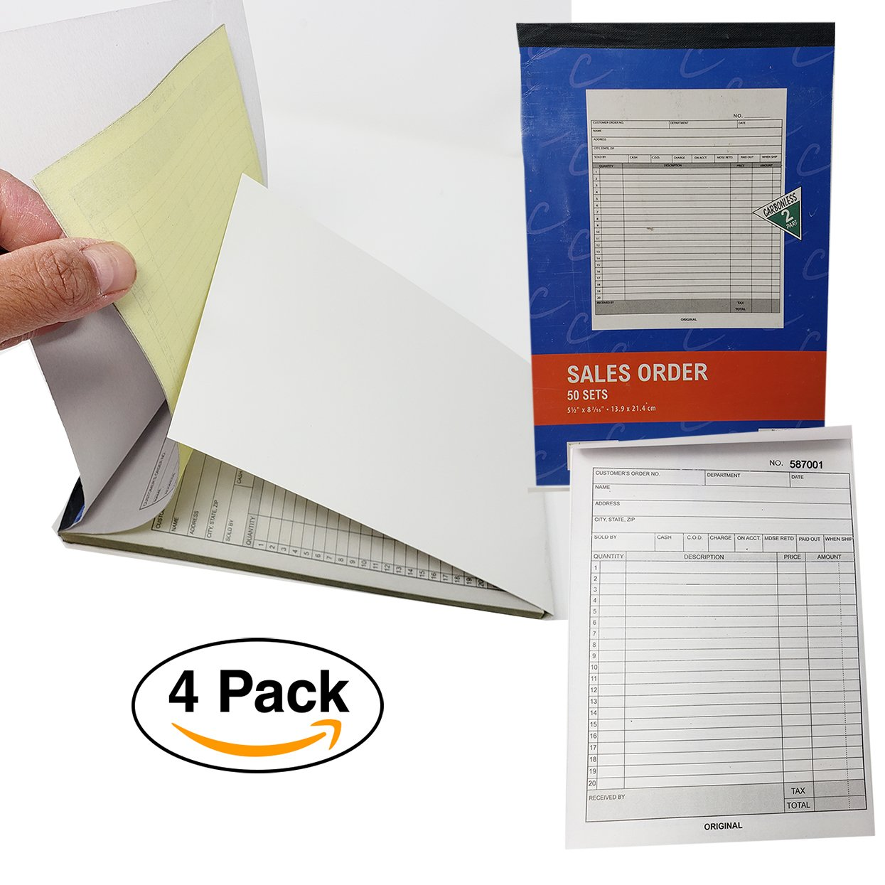 Sales Order Books Invoices | Receipts, WRAPPED AROUND COVER - 2 Part, Carbonless, White/Canary, 8.5 x 5.5 Inches, 50 Sets per Book, 4 Bo