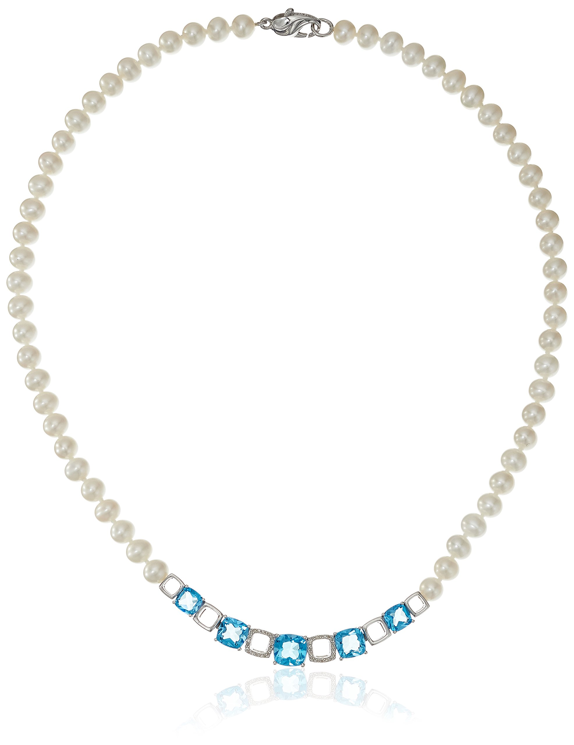 Sterling Silver Freshwater Cultured Pearl with Swiss Blue Topaz and Diamond Accent Pearl Strand (1/10cttw, I-J Color, I2-I3 Clarity), 18''