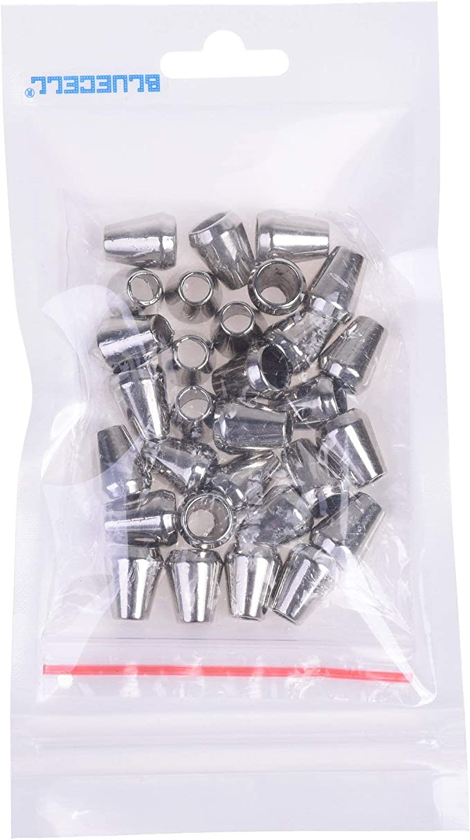 40x Metal Cord Rope Locks Fastener Ends Stopper for Lanyard Backpack Silver