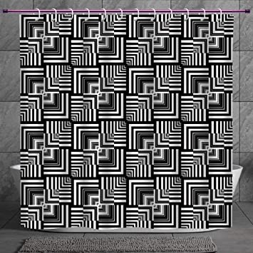 Black and White Shower Curtain Asphalt Road Print for Bathroom