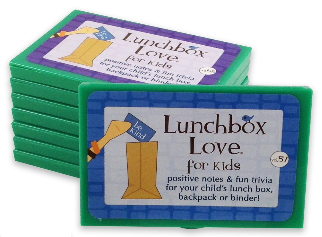 Lunchbox Love Notes for Kids by Say Please. 96 positive lunch notes, fun TRIVIA and JOKES for your child's school lunchbox, backpack, or binder. (Volumes 57-64)