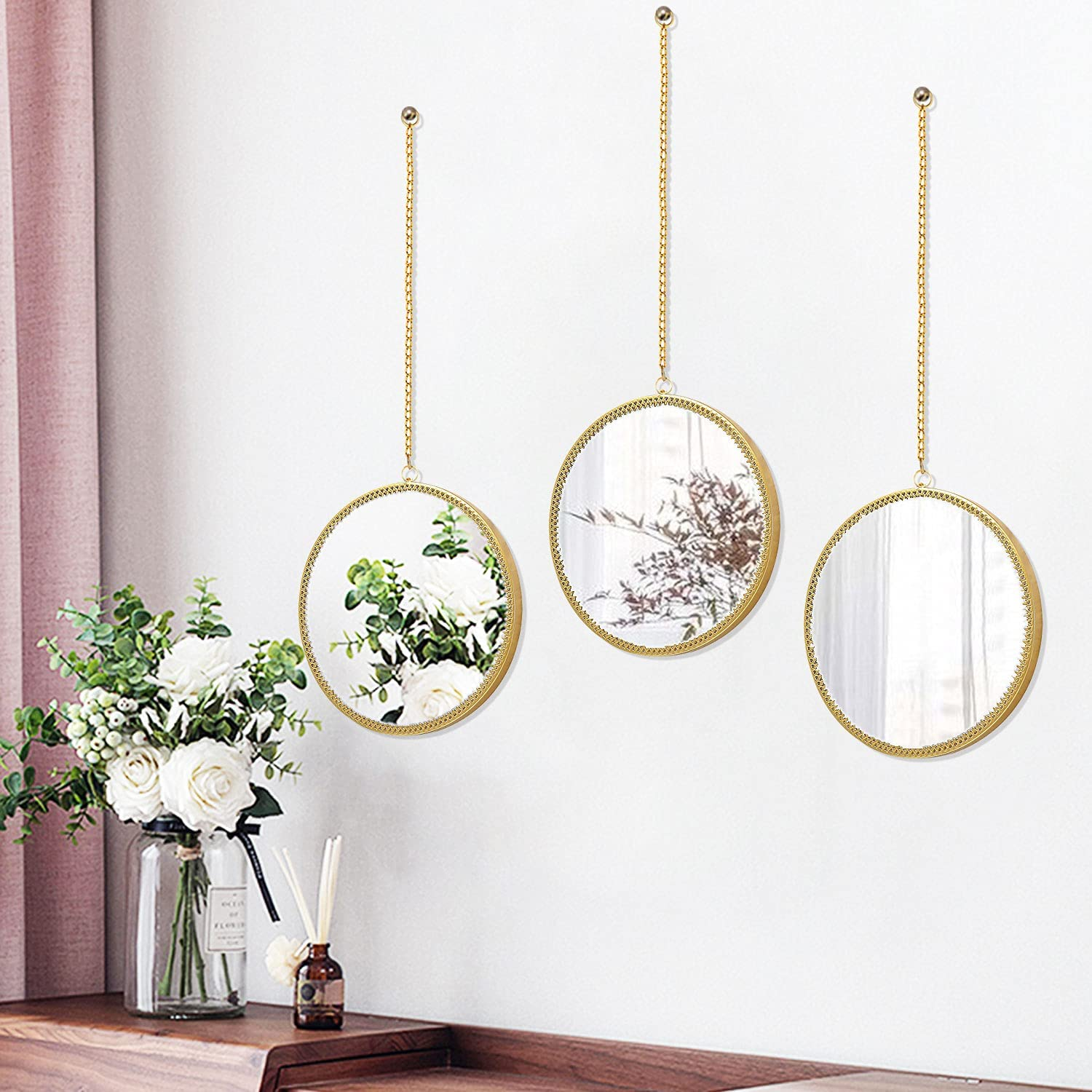 3 Pack Round Mirror Wall Decor Gold Metal Wall Mirrors with Flora Border, Hanging Chain Home Decorative Wall Art