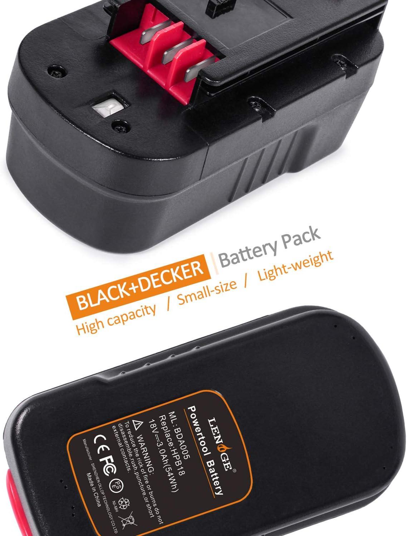 LENOGE Batterie de Remplacement 18 V 3.0 Ah 2 Packs Black Decker A1718 A18 A18e HPB18 HPB18-OPE Firestorm Fit Power Outil Hp188 F2b Hp188 F3 Gtc800 Gtc610 GTC 610 GLC2500 Epc188 Epc18 Ps182kb