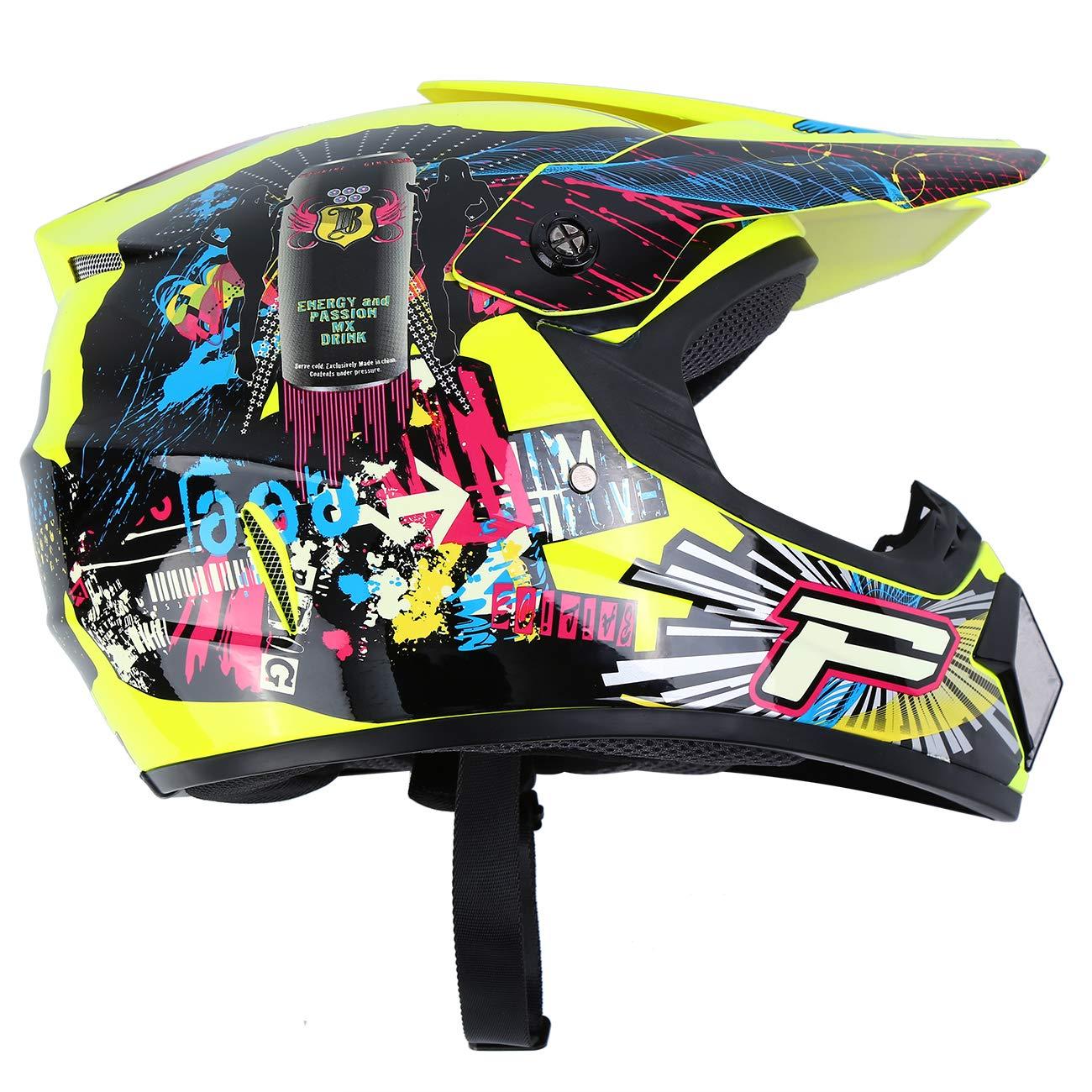 M, White Samger DOT Adult Offroad Helmet Motocross Helmet Dirt Bike ATV Motorcycle Helmet Gloves Goggles
