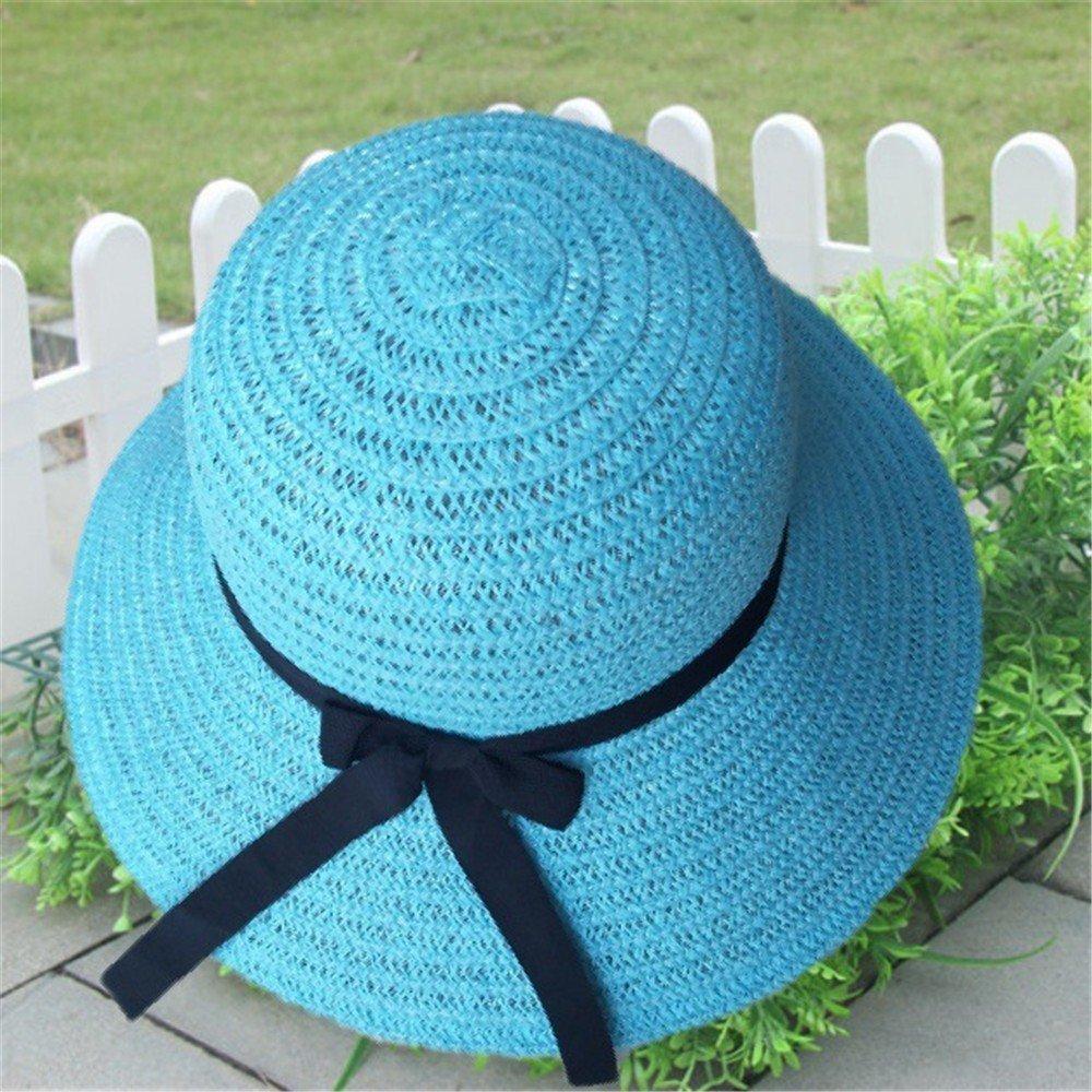 Modaworld Sombrero de Paja Mujer, Sombrero de Verano Plegable de ...
