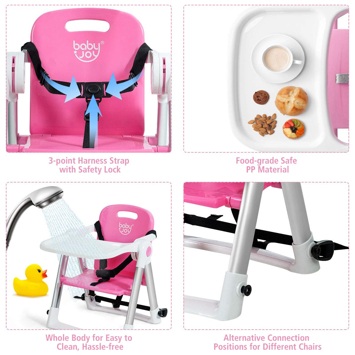 Folding Portable High Chair W//Safety Belt for Camping//Beach//Lawn Blue Dining Booster for Toddlers at Home and On-The-Go BABY JOY Travel Booster Seat with Tray for Baby