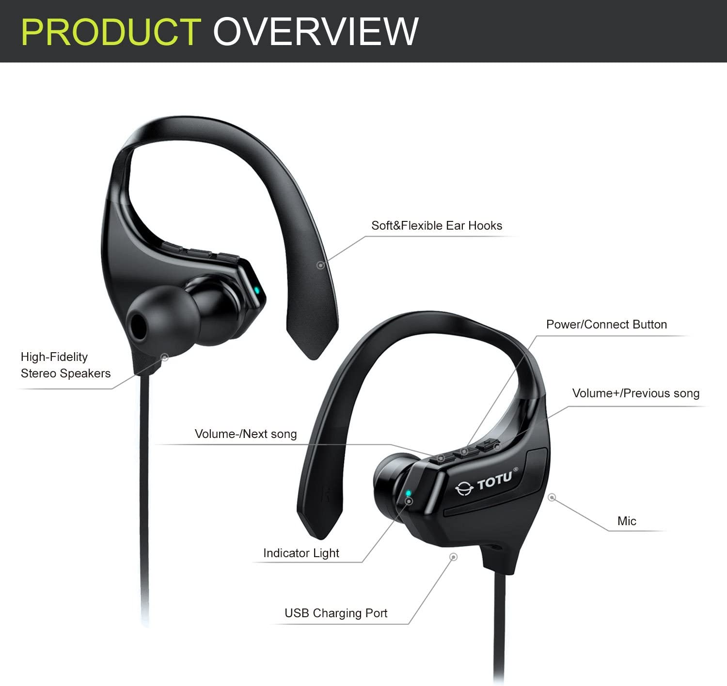 Noise Cancelling Secure Fit TOTU BT-2 V4.1 Wireless Headphones IPX7 Sweatproof Music Stereo Sports Headset up to 8 Hours Working time Bluetooth Headphones HD Sound with Bass