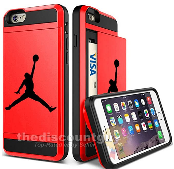 3571ee28c1ed4 Apple iPhone X - Dual-Layered Credit Card ID Storage Basketball Case  Michael Jordan Store Money Cash Slide Wallet Jumpman Air Protective Cover  (Red)