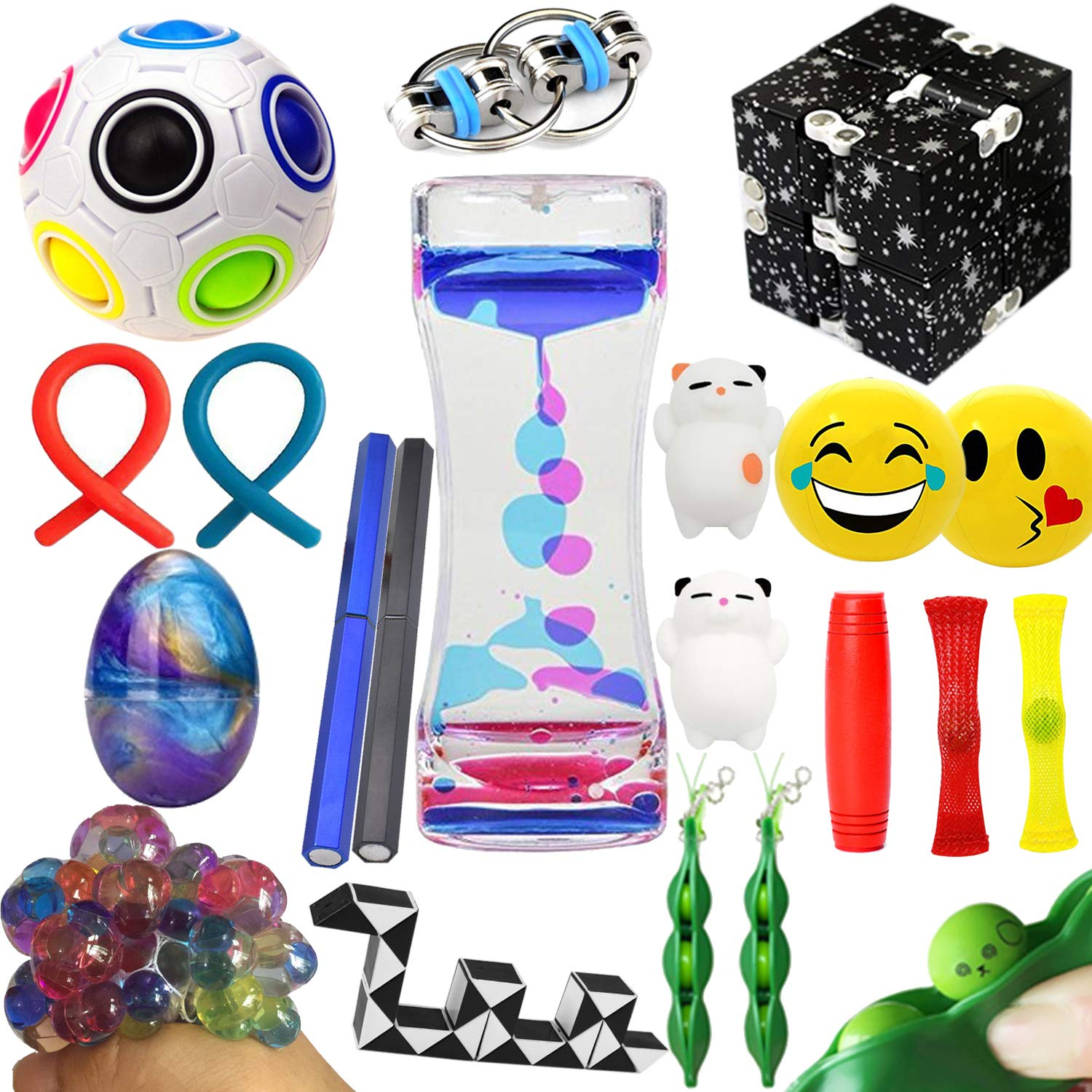 The Ultimate Sensory Fidget Toys Kit Prime 20 Packs Fidget Cube/Slime/Infinity Cube/Twisted Toy/Liquid Motion Bubbler/Squeeze Bean/Rainbow Magic Balls for Kids&Adult Add ADHD Stress Relax by Leeche