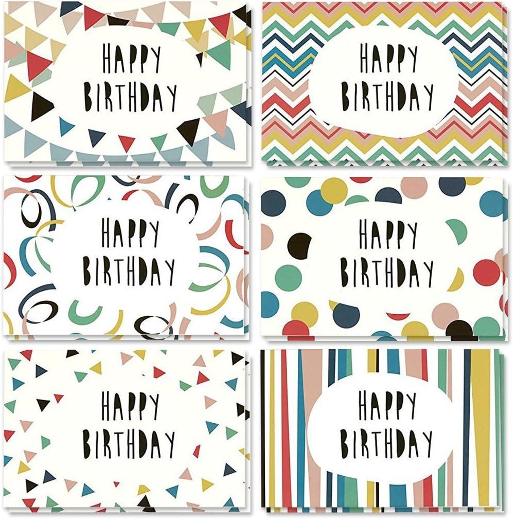 Caja con surtido variado de tarjetas de felicitación de cumpleaños, sobres incluidos