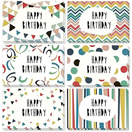 Amazon 48 Pack Happy Birthday Greeting Cards 6 Colorful Doodle