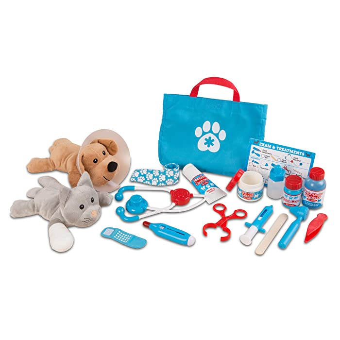 "Melissa & Doug Examine & Treat Pet Vet Play Set (Animal & People Play Sets, Helps Children Develop Empathy, 24 Pieces, 10.5"" H x 13.5"" W x 3.5"" L)"