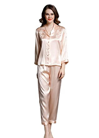 b6dde9a2f84a CLC Women s Pure Mulberry Silk Pajama Set Sleep Sets at Amazon ...