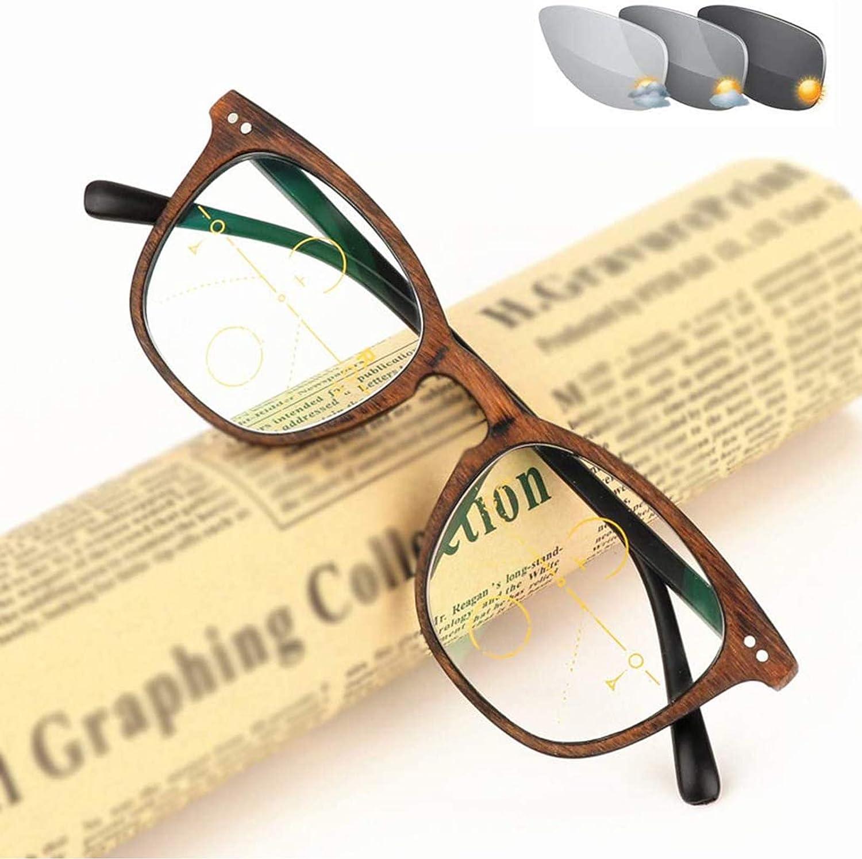 Reading Glasses Gafas de Lectura con Decoloración, Progresivas, Multifoco,de Moda, Gafas de Lectura, Montura Clásica para Hombres y Mujeres, Lector Progresivo Antifatiga