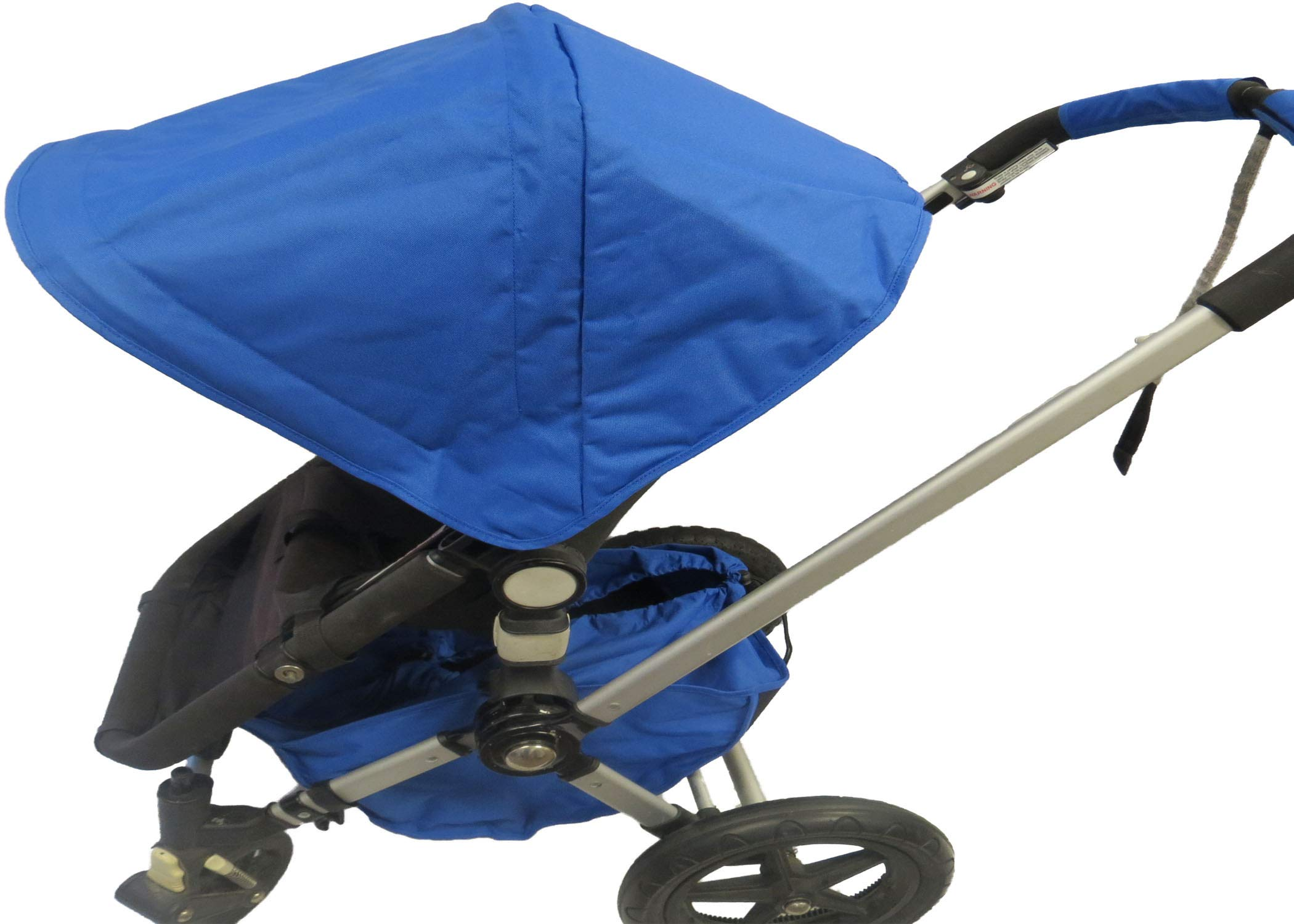 Royal Blue Sun Shade Canopy and Large Under Seat Storage Basket Plus Free Handle Bar Covers for Bugaboo Cameleon 1, 2, 3, Frog Baby Child Strollers