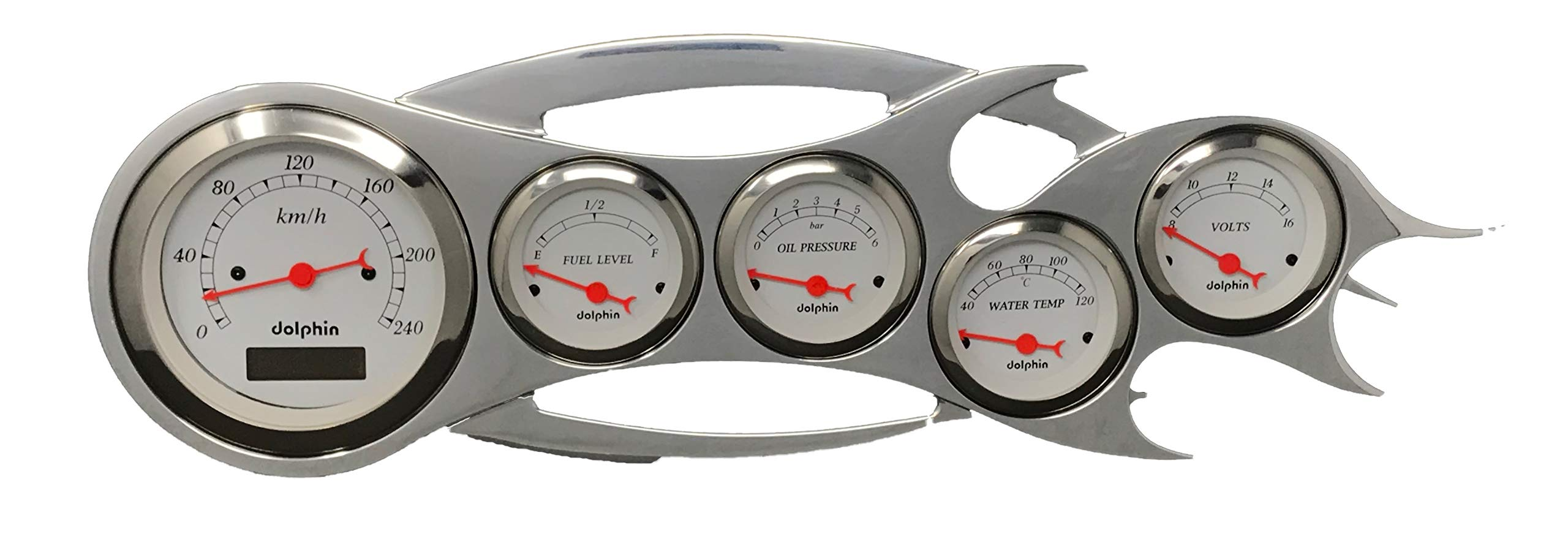 Dolphin Gauges Universal - 5 Gauge Dash Cluster Panel - Metric - Programmable - White by Dolphin Gauges