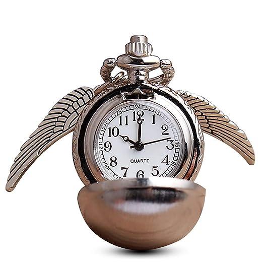 Moderno plateado bola alas Snitch reloj de bolsillo con cadena para ventiladores, collar de cuarzo reloj de bolsillo colgante + caja: Amazon.es: Relojes