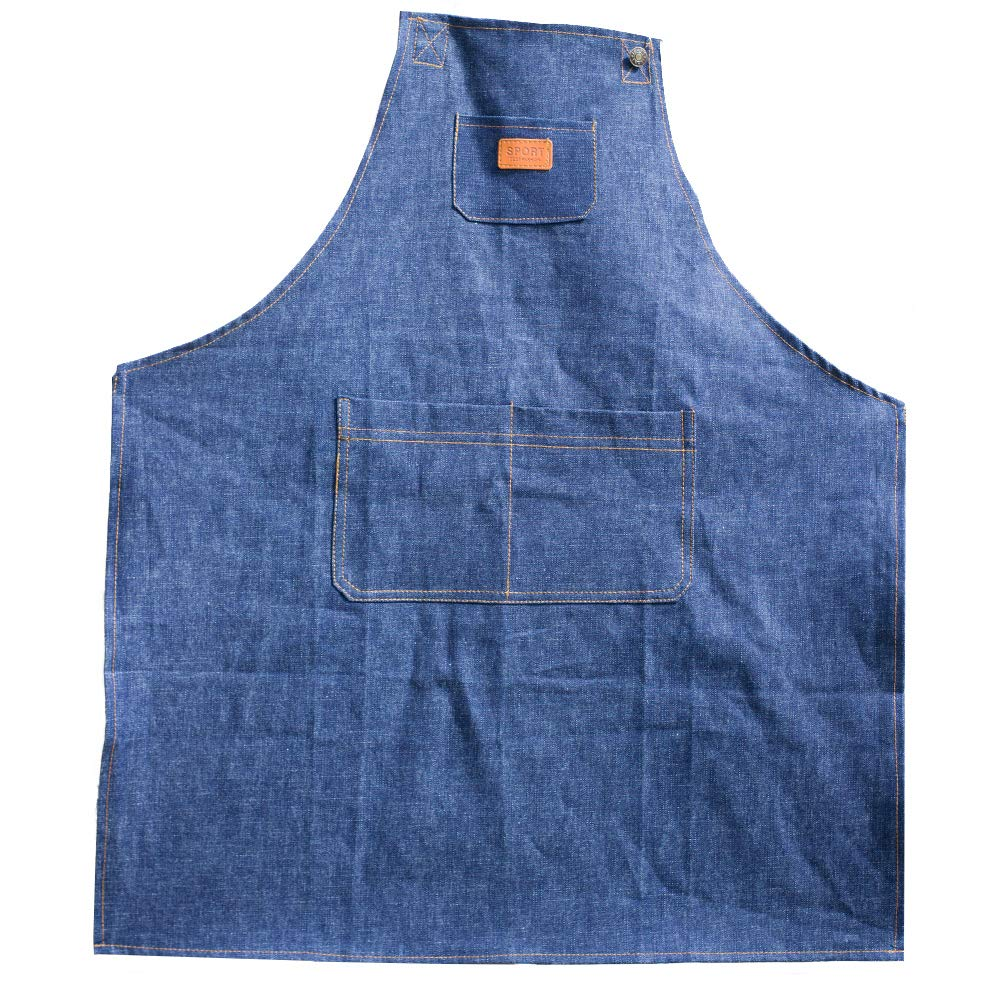 WQ-NZX Akway Apron Demin Fabric Unisex Apron for Men/&Women Aprons with Convenient Pockets