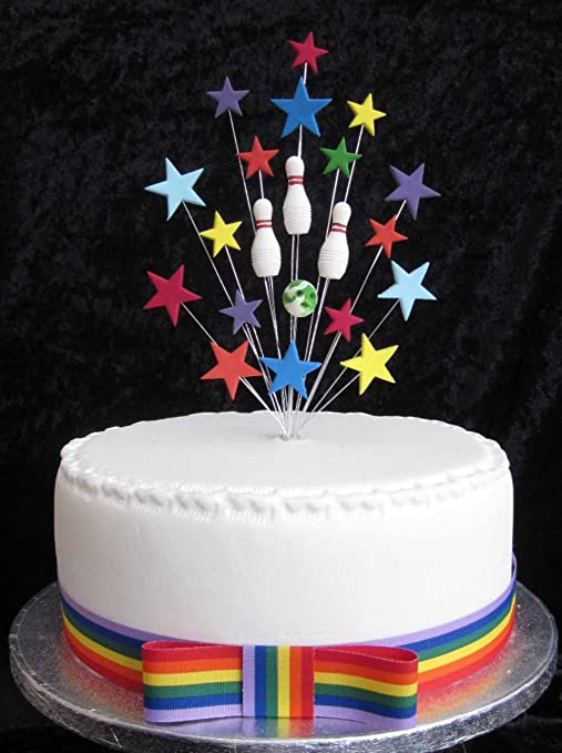 Excellent Ten Pin Bowling Birthday Cake Topper Suitable For A 20Cm Cake Personalised Birthday Cards Veneteletsinfo
