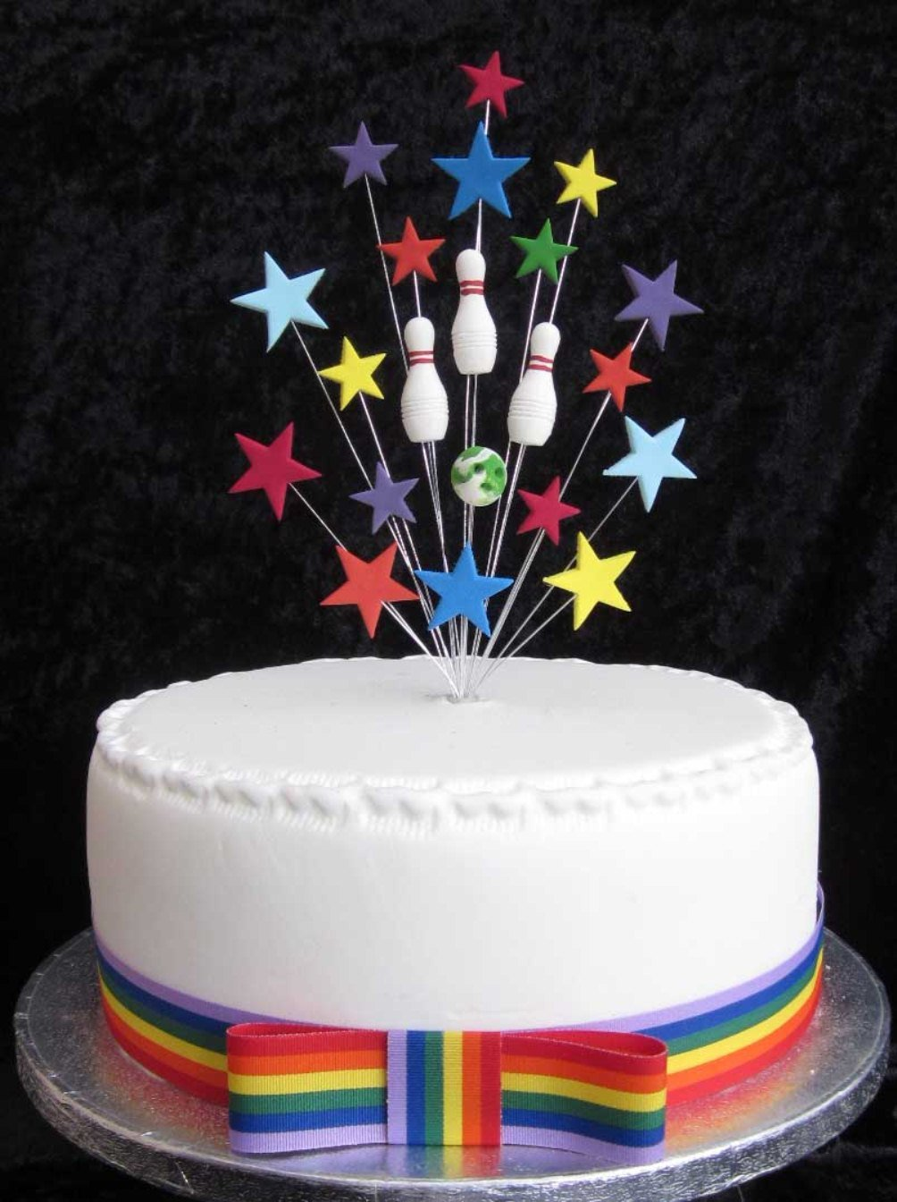 Ten Pin Bowling Birthday Cake Topper Ideal For A 20cm PLUS 1 X Metre 25mm Rainbow Grosgrain Ribbon With Bow Amazoncouk Kitchen Home
