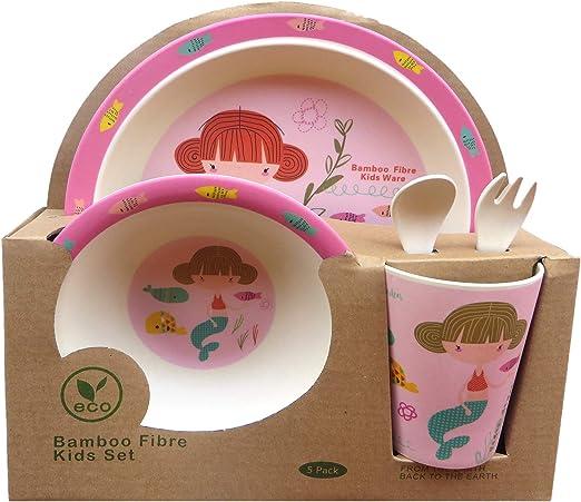 Buabi Vajilla de bambú bebé e Infantil, Material ecológico sin BPA ...