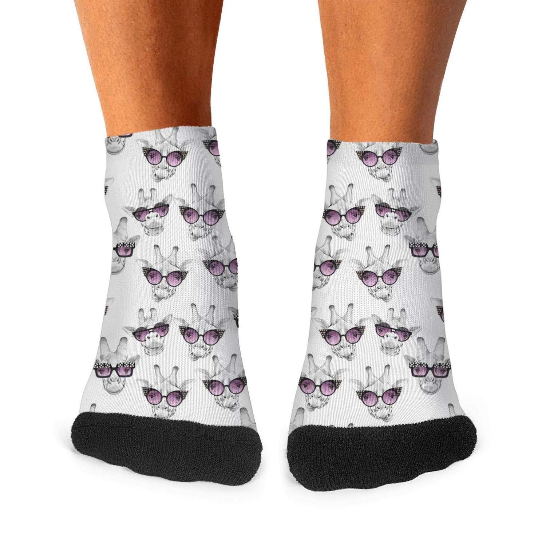 Mens Athletic Low Cut Ankle Sock Cool Hispter Giraffe Sunglasses Short Sports Sock
