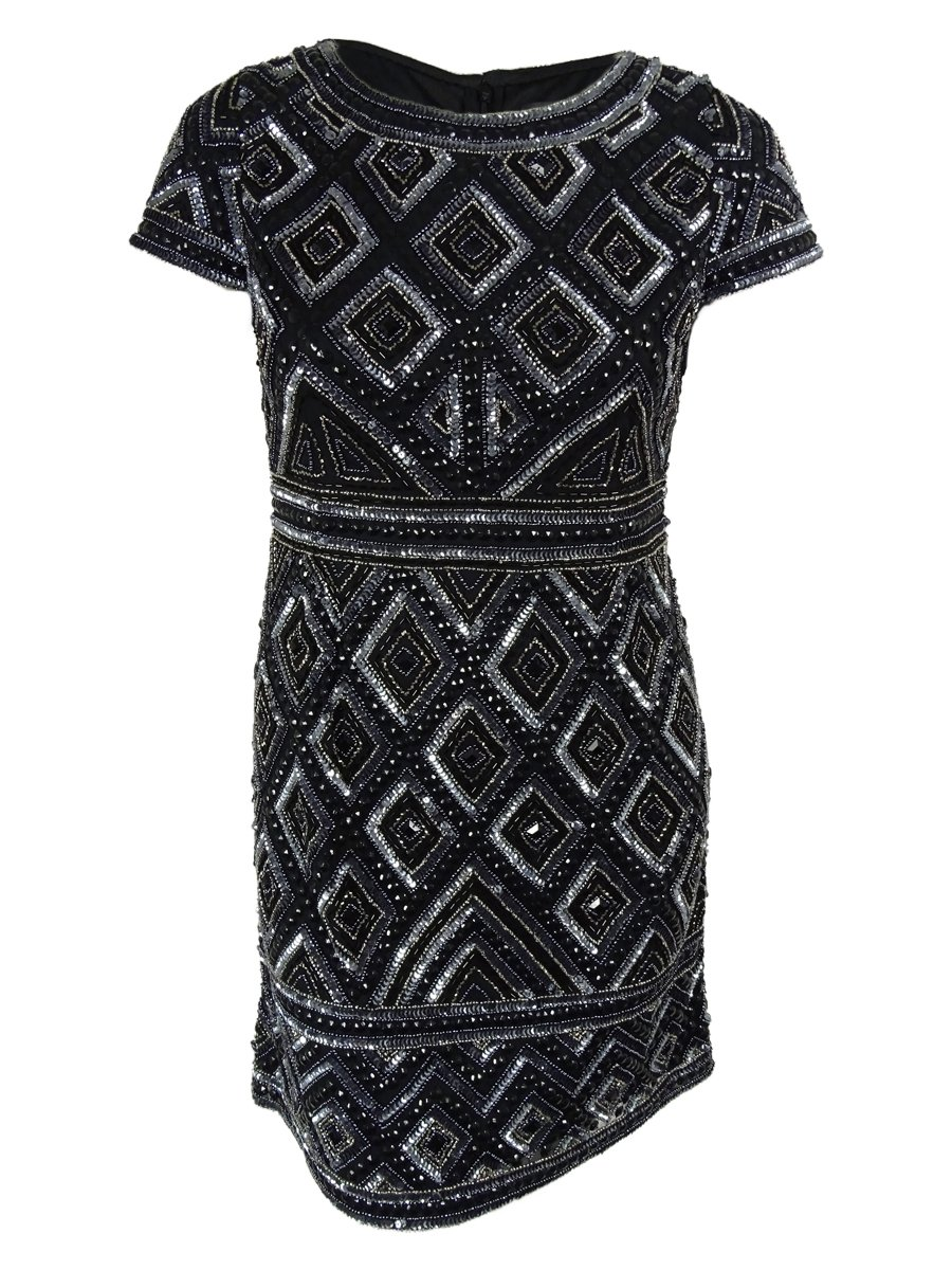 Adrianna Papell Women's Cap Sleeve Short Beaded Dress with Diamond Contrast Beading, Gunmetal, 6 by Adrianna Papell
