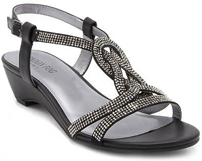4396ea32b London Fog Womens Macey Demi-Wedge Dress Sandals Black 6 M US