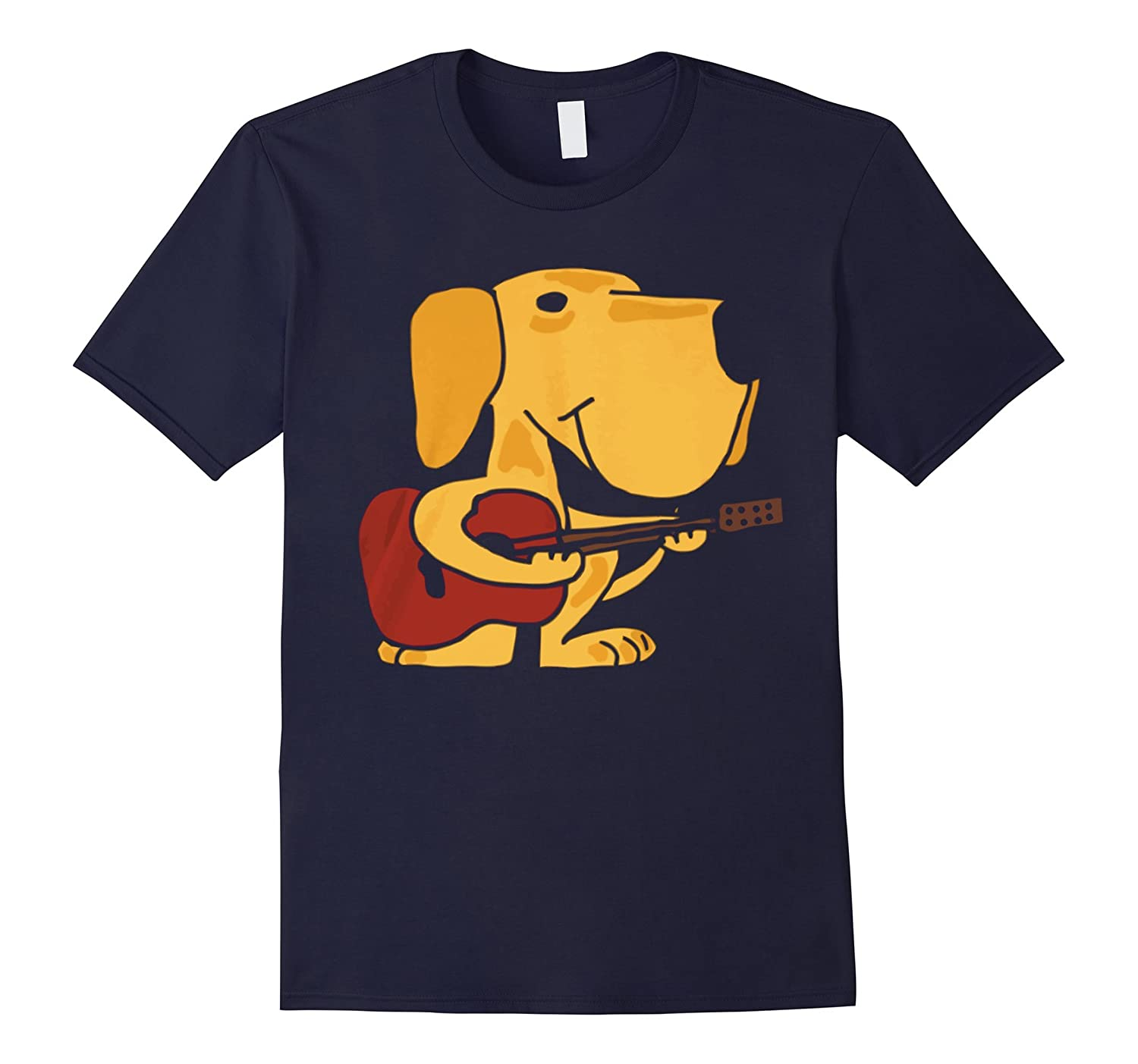 Yellow Labrador Retriever Puppy Dog Playing Guitar-TH