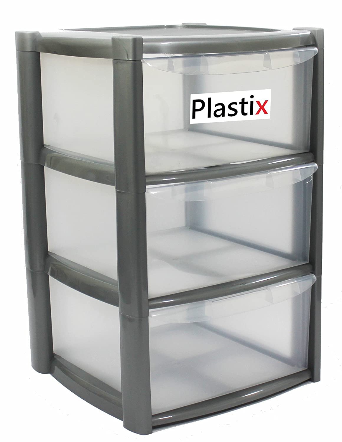 Large 3 Tier Drawer Plastic Draw Storage Trolley Tower Unit Home Office (Silver) Plastix
