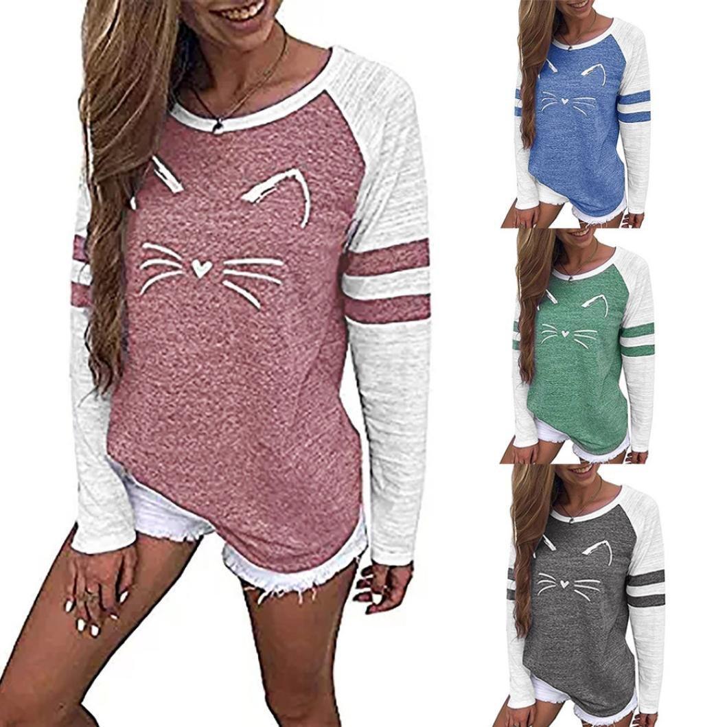 74cea92fd8b9e ❤ Femmes T-Shirt d impression de Chat Chemisier à Manches Longues Top  Manches Longues à Coutures lâches Amlaiworld  Amazon.fr  Animalerie