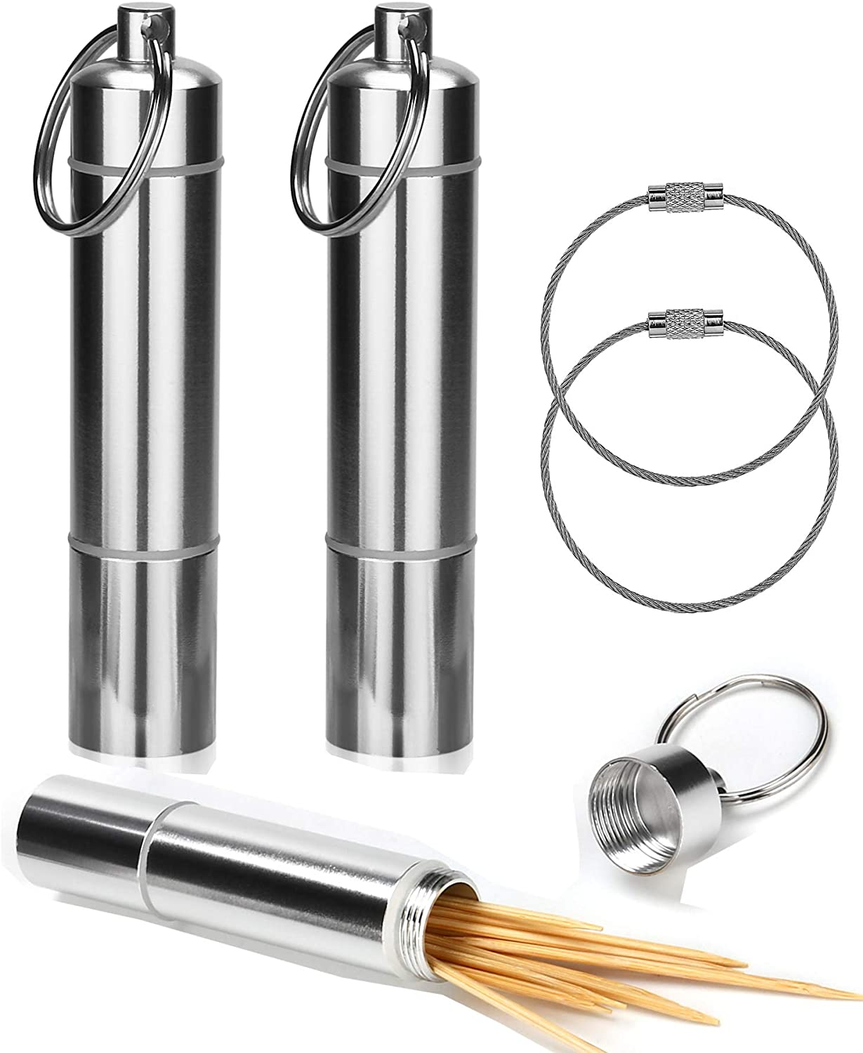 Aluminum Travel Waterproof Box Metal Pill Case with Key Ring OOTSR Stainless Steel Toothpick Holder 2 Pack Portable Toothpick Case with Wire Keychain Cable