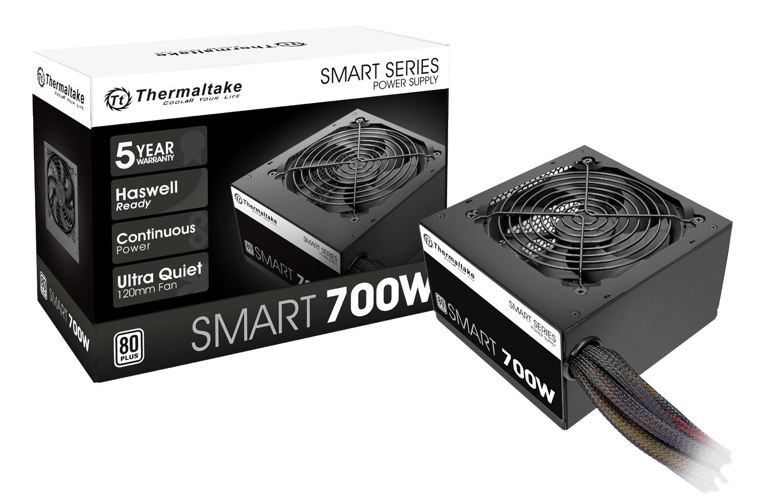 Thermaltake Smart 700W 80+ White Certified PSU, Continuous Power with 120mm Ultra Quiet Fan, ATX 12V V2.3/EPS 12V Active PFC Power Supply PS-SPD-0700NPCWUS-W by Thermaltake (Image #1)