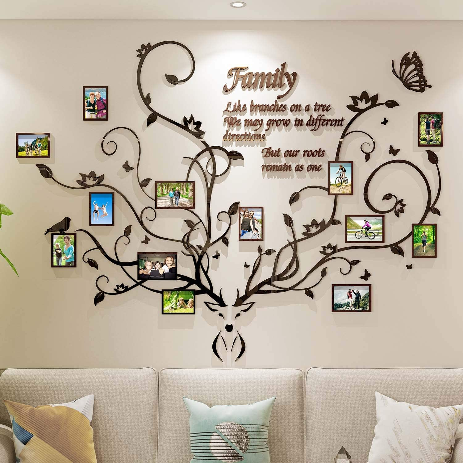 DecorSmart Antlers Family Tree Wall Decor for Living Room, 3D Removable Picture Frame Collage DIY Acrylic Stickers with Deer Head and Quote Family Like Branches on a Tree