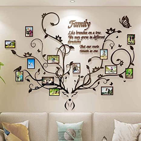 Amazon Com Decorsmart Antlers Family Tree Wall Decor For Living Room 3d Removable Picture Frame Collage Diy Acrylic Stickers With Deer Head And Quote Like Branches On A