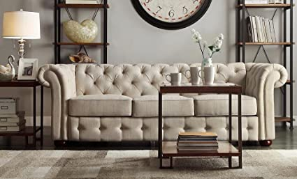 Amazon.com: Classic Scroll Arm Button Tufted Chesterfield Style ...