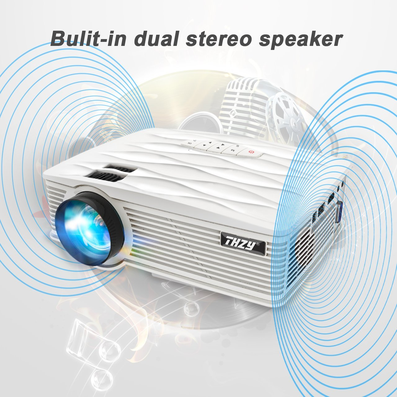 THZY Mini Projector 2200 Lumens Portable Video Projector,50000 Hours Multimedia Home Theater Movie Projector 1080P Support,Compatible with Amazon Fire TV Stick HDMI,VGA,USB,AV,Laptop,Smartphone by THZY (Image #6)