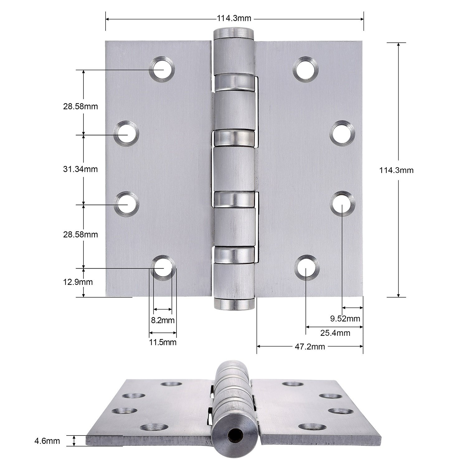 Satin Chrome Finish Commercial Door Hinge 4 Bearing Heavy Weight 4.5 Inch by Dependable Direct Pack of 9