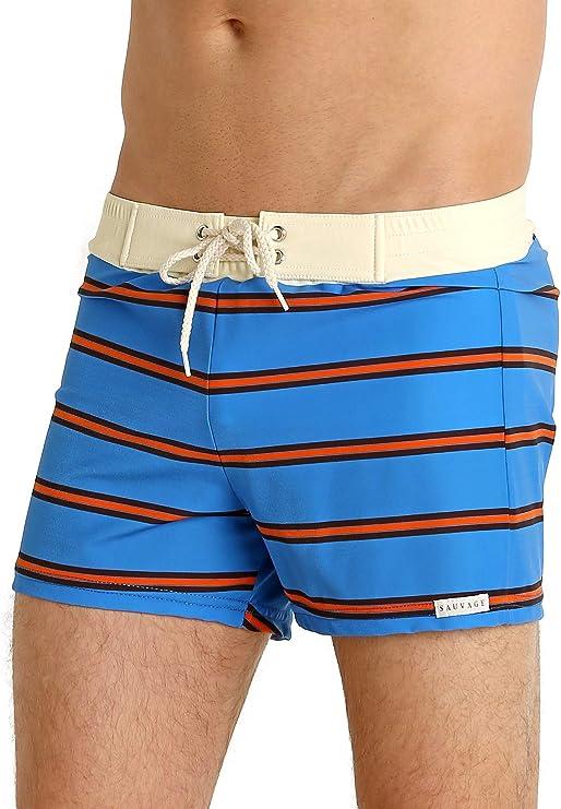 1970s Men's Clothes, Fashion, Outfits Sauvage Retro Vibe Striped Swim Trunk Royal $68.00 AT vintagedancer.com