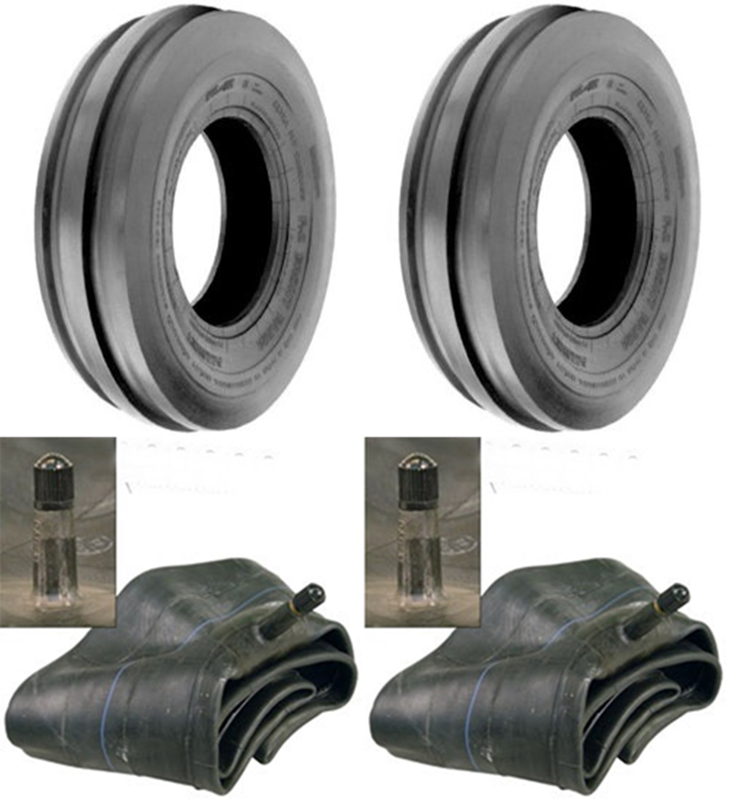 LOT OF TWO (2) 4.00-19 4.00x19 Tri Rib (3 Rib) Tires with Tubes HEAVY DUTY 6 PLY Rated by Tire Geek