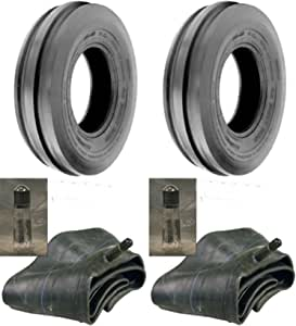 LOT OF TWO (2) 4.00-19 4.00x19 Tri Rib (3 Rib) Tires with Tubes HEAVY DUTY 6 PLY Rated